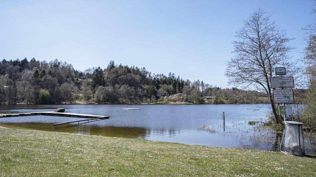 Træbadebro ud i søen med skovbeklædt bakke i baggrunden