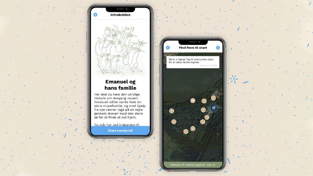 Visning på mobiltelefon af natureventyret