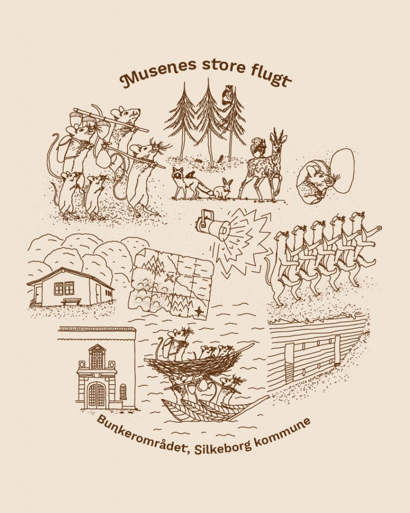 Grafik til natureventyret om Musenes Store Flugt