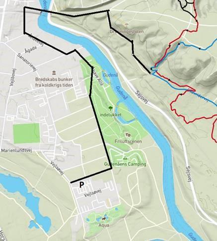 Rute fra p-plads til MTB spor i Nordskoven