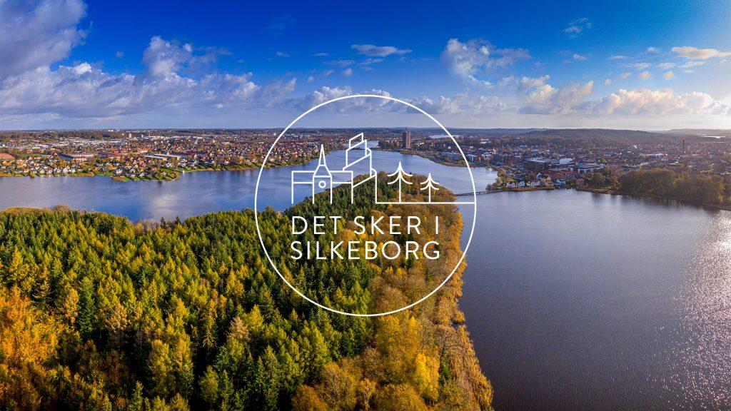Dronebillede af silkeborg langsø og byen