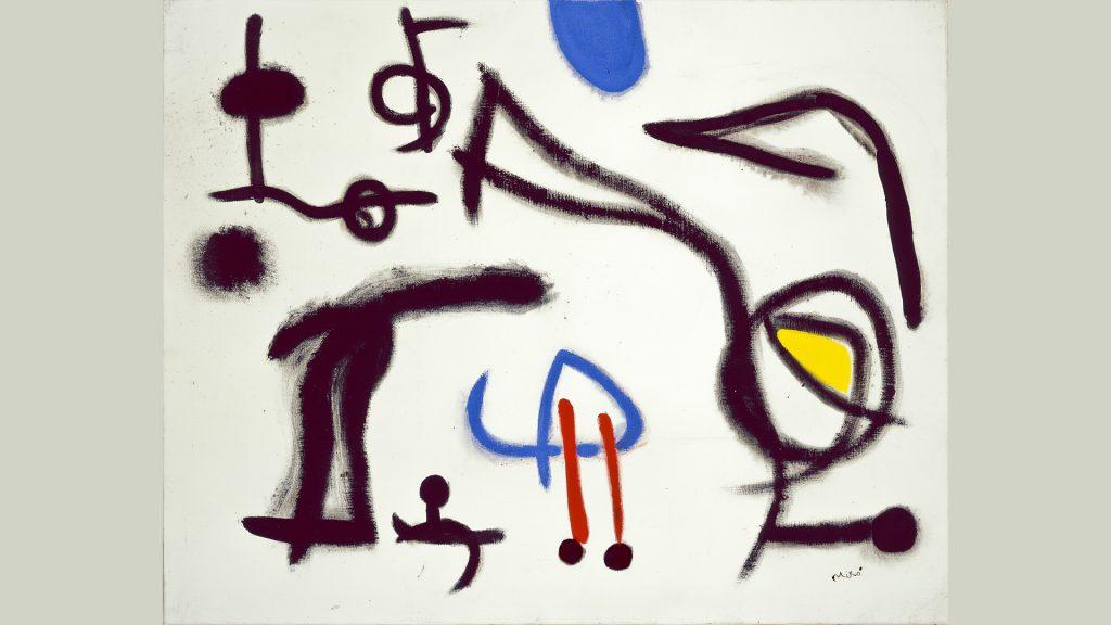 Værket Personnages oiseaux III fra 1973 af Joan Miró.