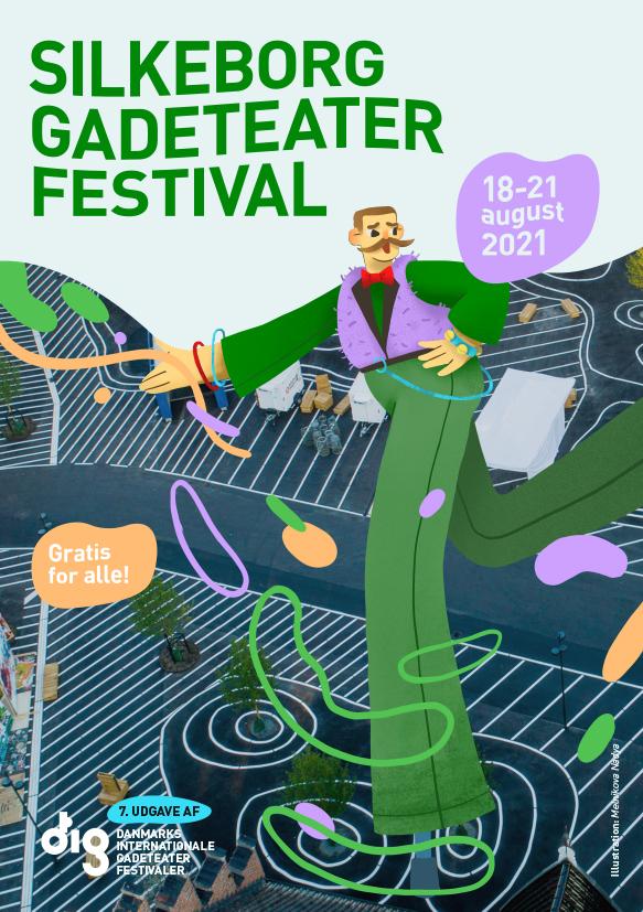 Forside af gadeteaterfestivalens program 2021